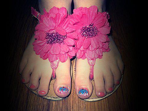 stylish pink flower sandals-f97303