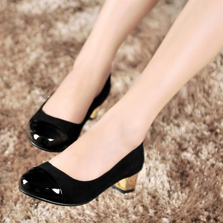 2013-office-lady-thick-heel-shoes-patent-leather-black-color-shoes-large-size-Us-9-12