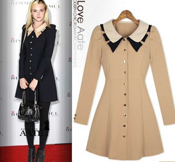 Autumn-Outwear-New-Doll-Neck-Dress-British-College-Wind-Style-Female-Coat-Trench-Women-Black-Beige