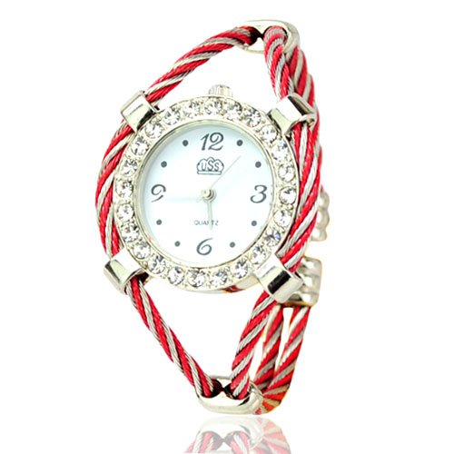 Fashion-Girls-Bangle-Watches-Metal-Weave-Rhinestone-Ladies-Bracelet-Quartz-Watches-Cheap-Women-Wrist-Watches-Red