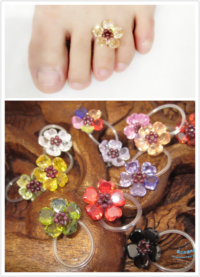 Free-Shipping-font-b-Toe-b-font-font-b-Ring-b-font-Flower-Of-Crystal-For