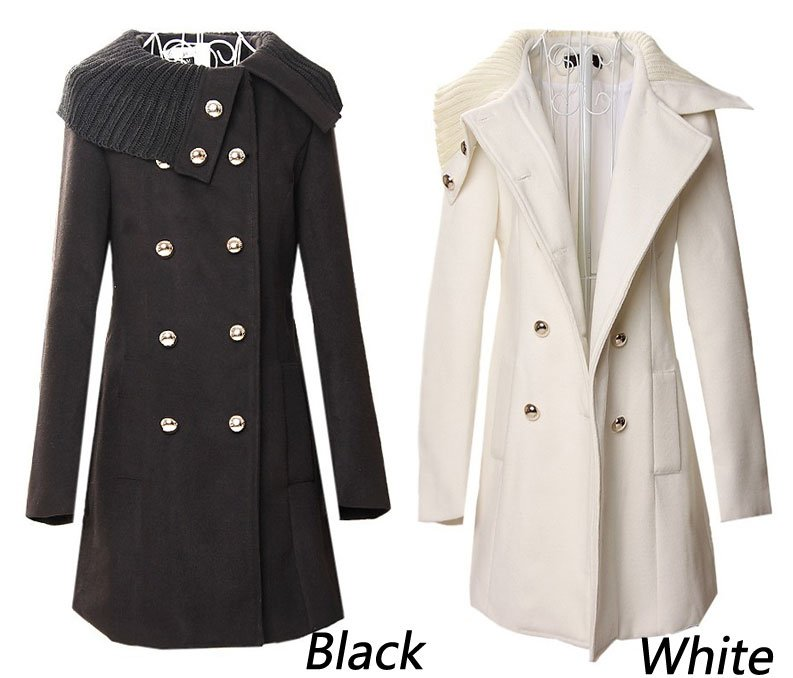 Free-shipping-New-style-women-s-winter-warm-double-breasted-woolen-outerwear-coat-overcoat-Black-White