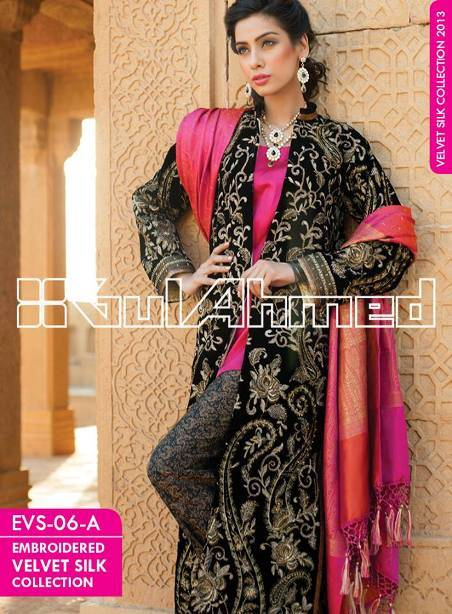 Elegant-Embroidered-Silk-Velvet-Coat-2014-By-Gul-Ahmed-smartinstep-1