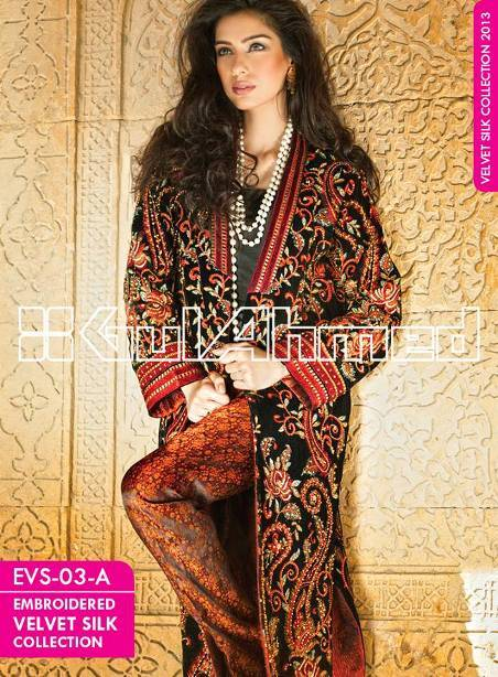 Elegant-Embroidered-Silk-Velvet-Coat-2014-By-Gul-Ahmed-smartinstep-5