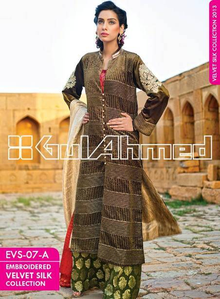 Elegant-Embroidered-Silk-Velvet-Coat-2014-By-Gul-Ahmed-smartinstep-7