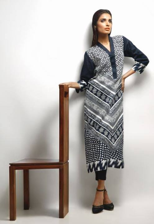 Khaadi-Black-and-White-Winter-Dresses-Collection-2013-For-women-1