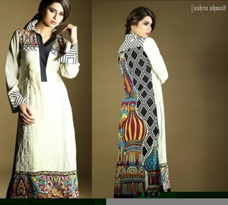 Zahra-Ahmad-White-and-black-Kurta-Design-Winter-Collection-2014-450x405