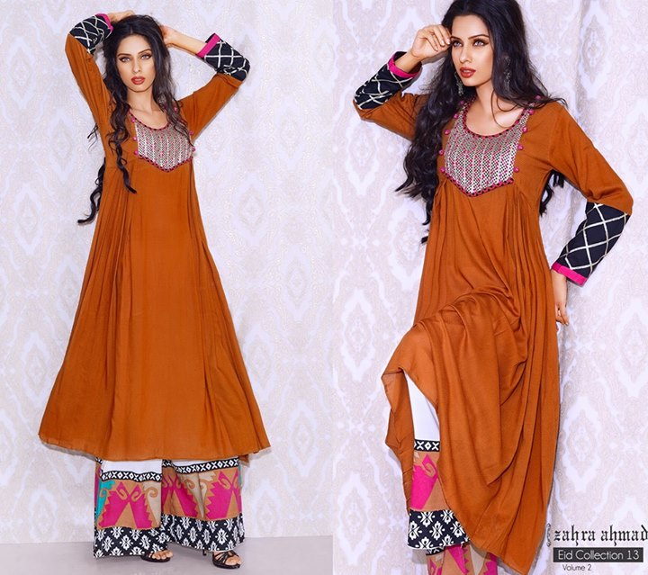 Casual-brown-stylish-dress-2013-by-Zahra-Ahmad