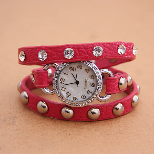 Free-shipping-2013-Punk-stylish-watch-leather-bracelet-shell-rivet-quartz-wrist-watch-for-women-Min