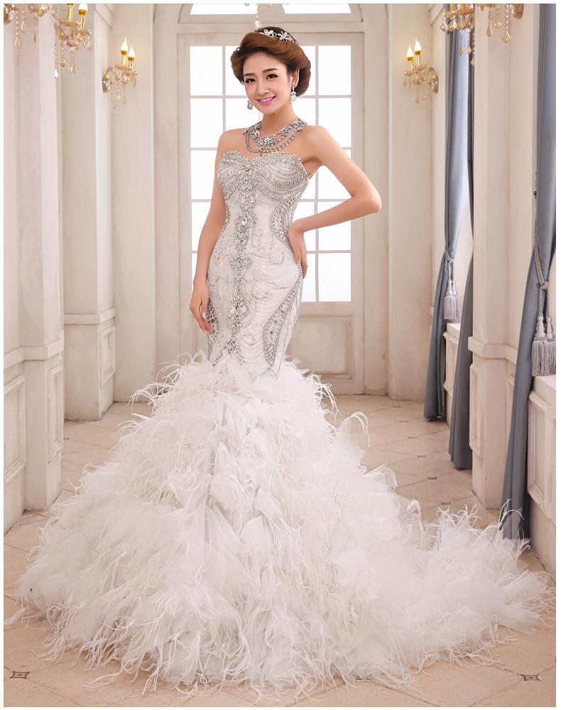 Mermaid bridal dresses girls mag for Short feather wedding dress