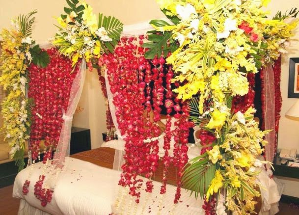 Wedding room decoration ideas girls mag for Asian wedding bed decoration ideas