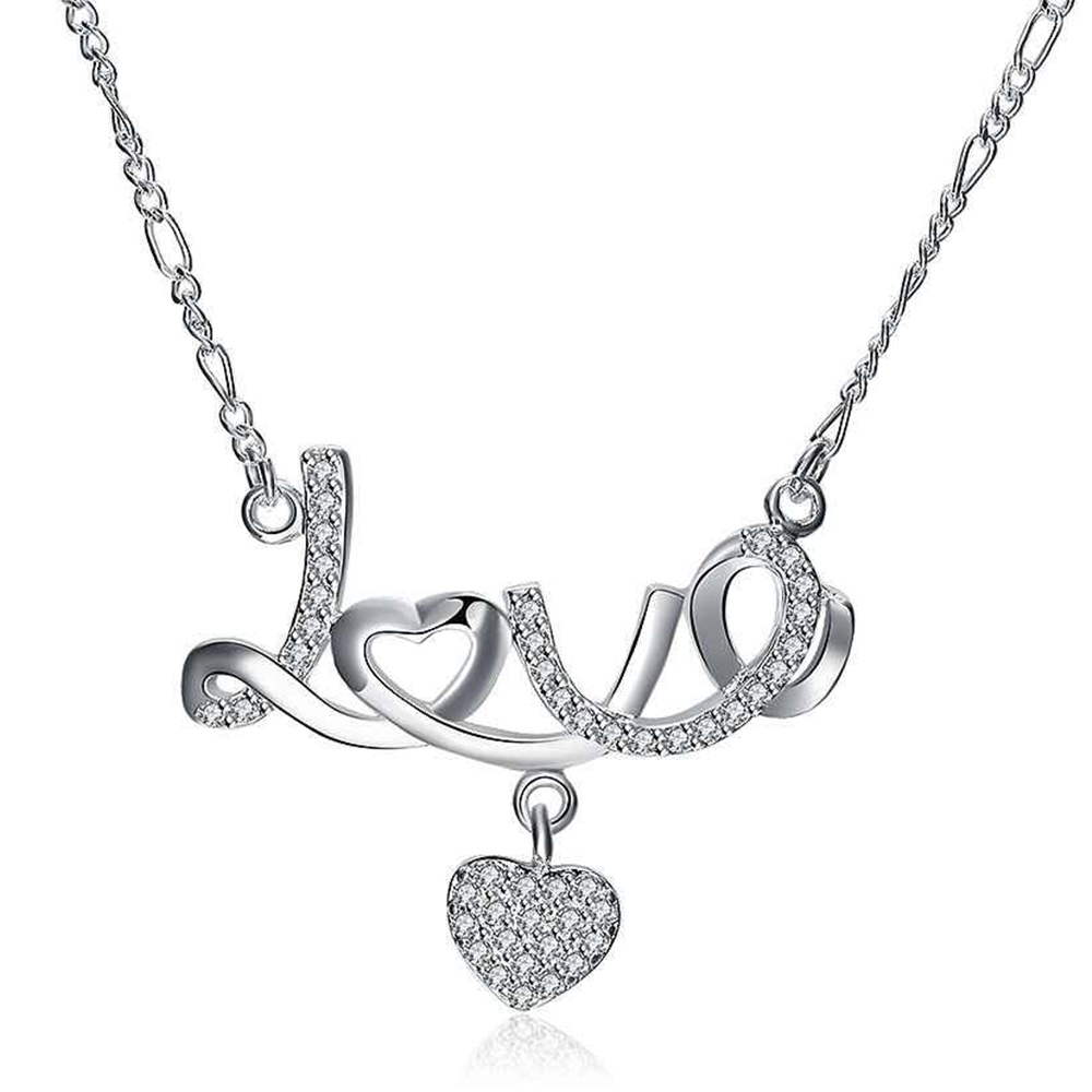 A1LoveHeartNecklaceSterlingSilver_Love_Heart_Necklace_925_Sterling_Silver_Crystal_Pendant